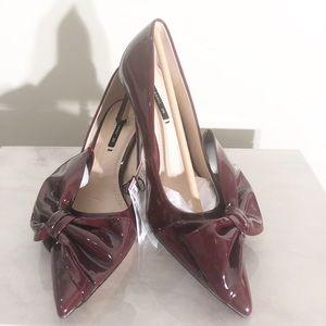 Burgundy Faux Patent Court Heels from Zara